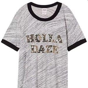 XS Victoria's Secret PINK T Shirt Sequin Holla